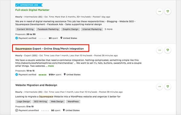 Upwork.com squarespace jobs