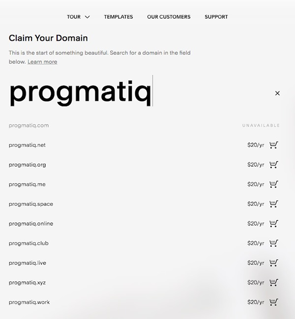squarespace.com domain pricing