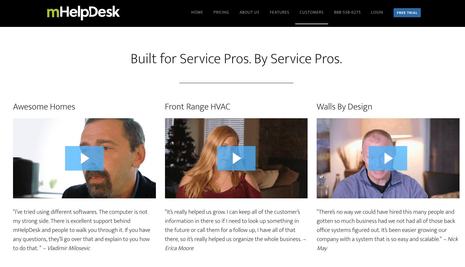 mHelpdesk Landing Page - Video Testimonials