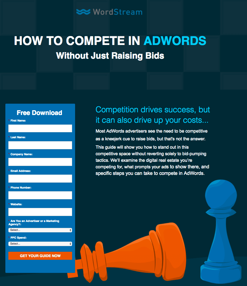 Wordstream - Perfect Landing Page Example